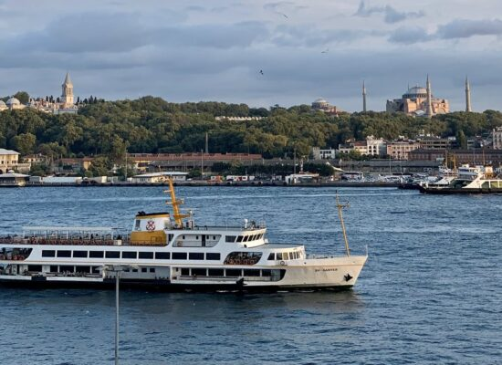 crossing the bosphorus strait during the taste of two continents food tour