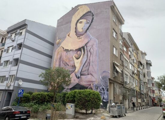 See colorful murals during Istanbul Asian side food tour