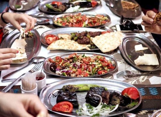 various types of kebabs and salads are tasted during istanbul food tour in old city
